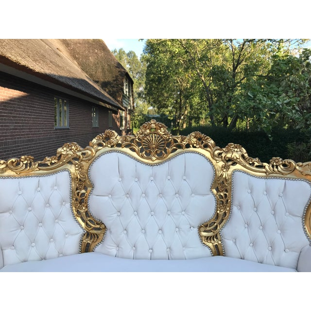 White 1940's Italian Rococo Living Room Set- 3 Pieces For Sale - Image 8 of 12
