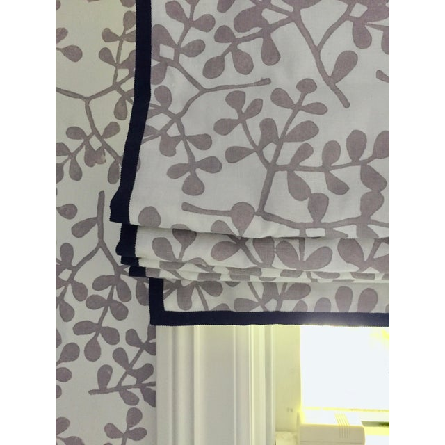 """Beautiful custom Exterior Mount Roman Shade in Galbraith & Paul's """"Ivy"""" fabric in a soft heather purple tone with navy..."""