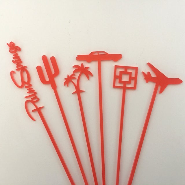 Coral Palm Springs Party Drink Stirrers - S/6 - Image 7 of 7