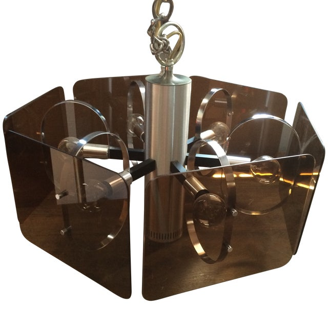 1970's Chrome and Smoked Lucite Pendant Lamp - Image 1 of 7