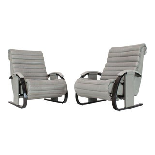 Pair of Leather Ribbed Upholstery Reclining Lounge Chairs Bent Wood Tank Style For Sale