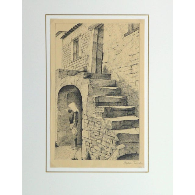 Andre Trost, Vintage French Lithograph - Village Scene For Sale - Image 4 of 5