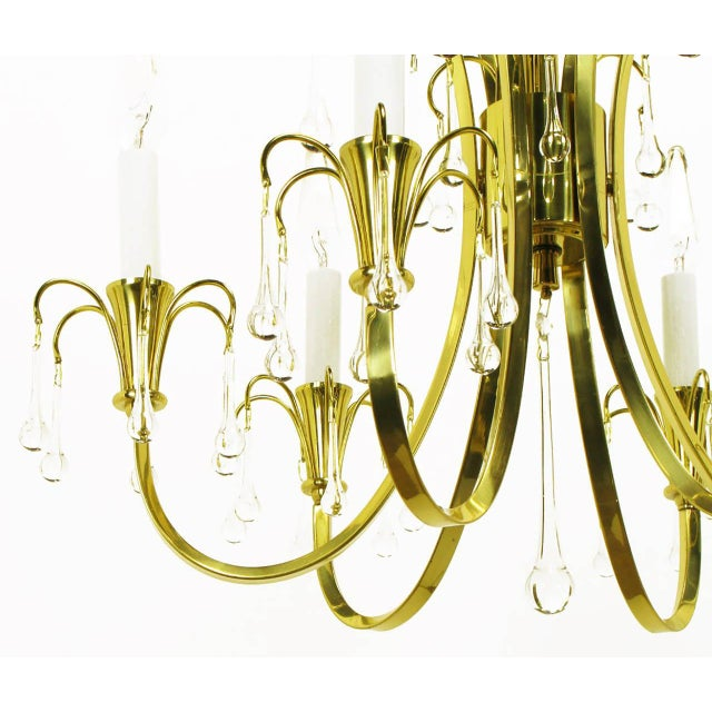 Metal Modernist Brass Chandelier With Raindrop Crystals For Sale - Image 7 of 8