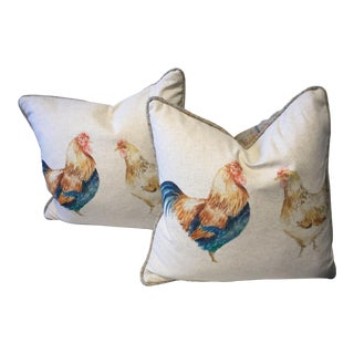 Country Chicken Pillows - a Pair For Sale