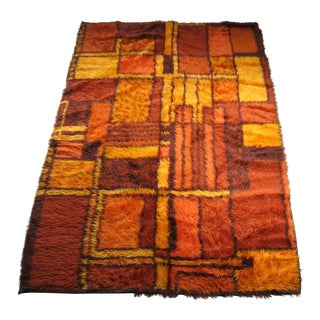 Swedish Rya Shag Rug - 4′3″ × 6′6″ For Sale