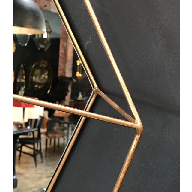 Gold Italian Large Rhomboidal Sculptural Wall Mirror in Brass For Sale - Image 8 of 10
