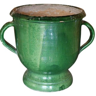Green Glazed Terracotta Castelnaudary Planter For Sale