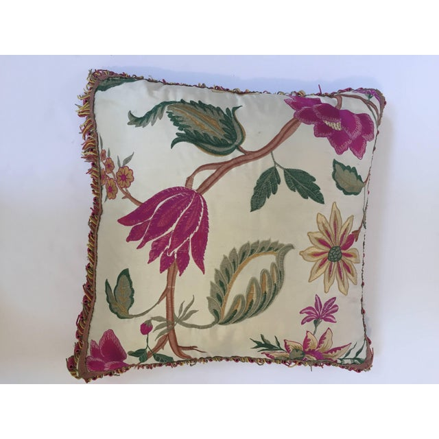 Boho Chic Vintage Colorful Silk Pillow With Spring Fresh Flowers Designs and Trim For Sale - Image 3 of 13