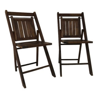 Vintage Rustic Slat Wood Folding Chairs - a Pair For Sale