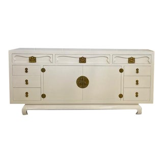 Henredon Chinoiserie Painted White Credenza For Sale