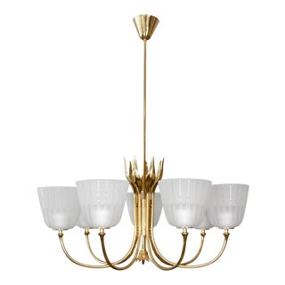 1950s Mid Century Borens Brass Chandelier For Sale