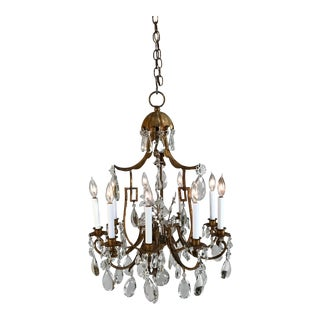 1930 French Gilt Tole & Crystal Chandelier For Sale