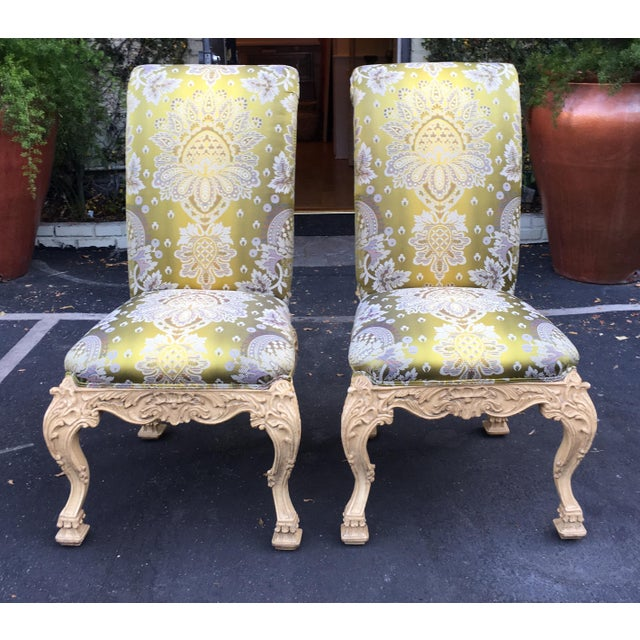 Carved Italian Side Chair With Venetian Style Green Silk Lampas For Sale - Image 4 of 5