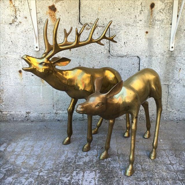Hollywood Regency 2.4' Tall Brass Elk Couple - Image 3 of 9