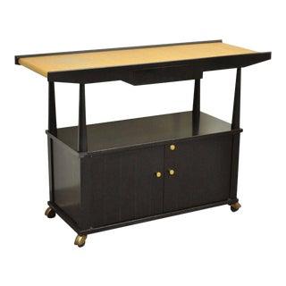 Vintage Founders Mid Century Modern Black Mahogany & Bamboo Server Bar Cart Cabinet