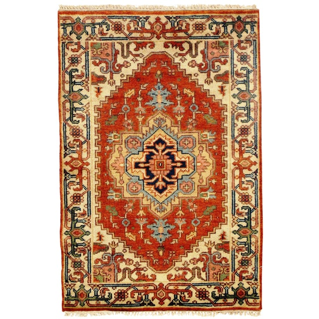 """Traditional Pasargad N Y Fine Serapi Design Hand-Knotted Rug - 2'10"""" X 4'2"""" For Sale"""