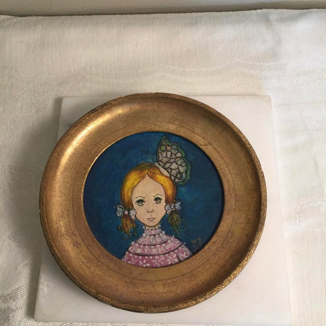 Folk Art 1960s Vintage Round Painting in Gilt Frame, Signed For Sale - Image 3 of 5