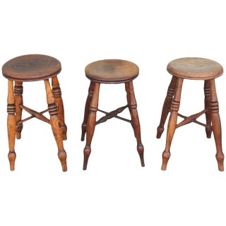 Group of Three Early 19th Century Pub Stools For Sale