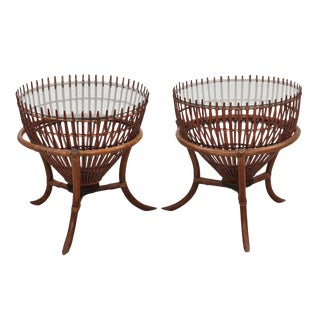 Mid Century Franco Albini Japanese Fish Basket Side Tables- A Pair For Sale