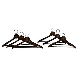 1930's Coat Check Numbered Hangers- Set of 6 For Sale