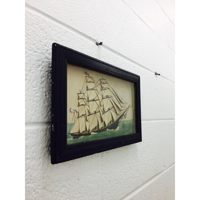 19th Century Ship Diorama in Frame - Image 10 of 11