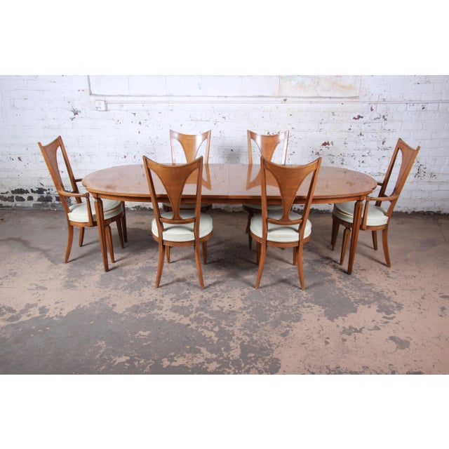 Romweber Mid-Century Modern Cherry and Burl Wood Dining Set, 1960s - Set of 7 For Sale - Image 13 of 13