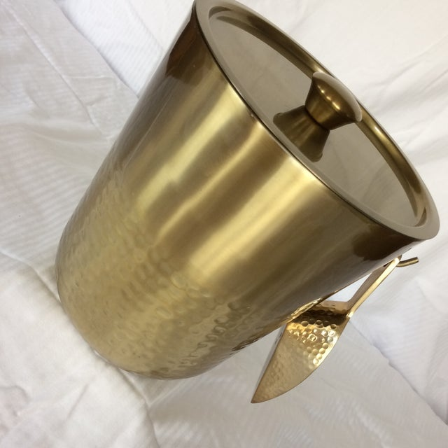 Gold Anodized Double Insulated Ice Bucket and Ice Scoop For Sale - Image 12 of 13