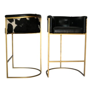 Bauhaus Modern Brass & Leather Stools - a Pair