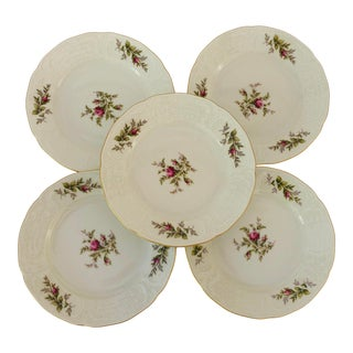 Vintage Rosenthal Classic Rose Collection Sans Souci Ivory Set of 5 Bread Plates For Sale