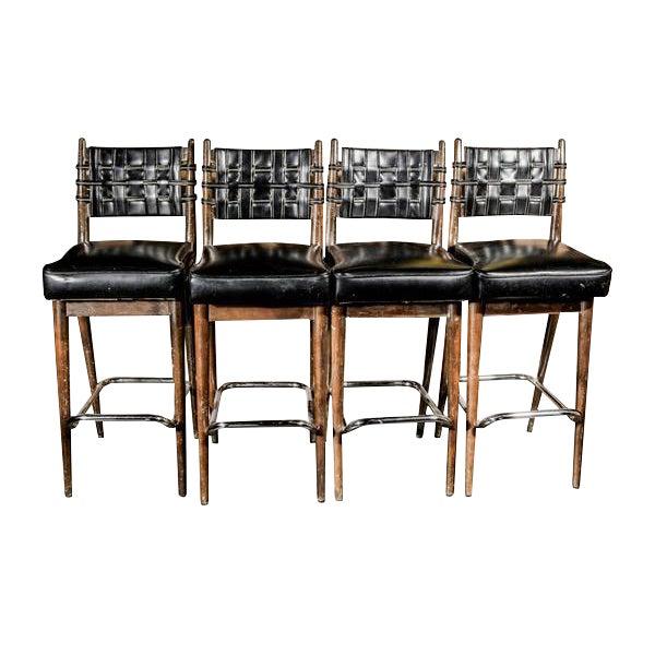 Mid-Century Danish Wood & Chrome Woven Leather Barstools - Set of 4 - Image 1 of 6