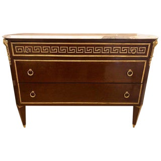 Tortoise Wood Bronze Mounted Greek Key Design Commode / Chest Manner Jansen For Sale