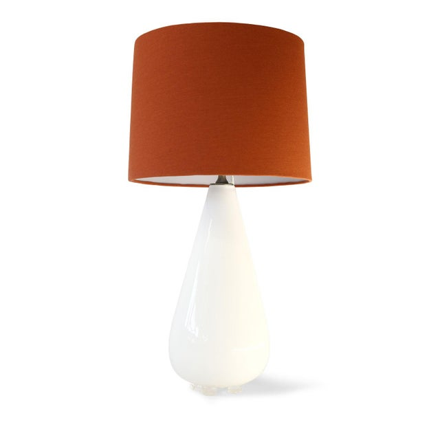 White White Glass Table Lamp For Sale - Image 8 of 10