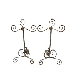 Pair Vintage Rustic Iron Floor Pedestal 3 Arm Candelabras For Sale