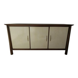 Walnut Credenza With Parchment Front Doors For Sale