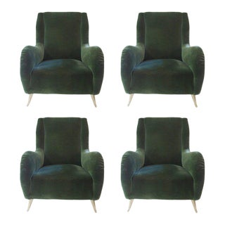 Isa Suite of Four Armchairs, Feet in Gilded Brass and Original Textile, 1960