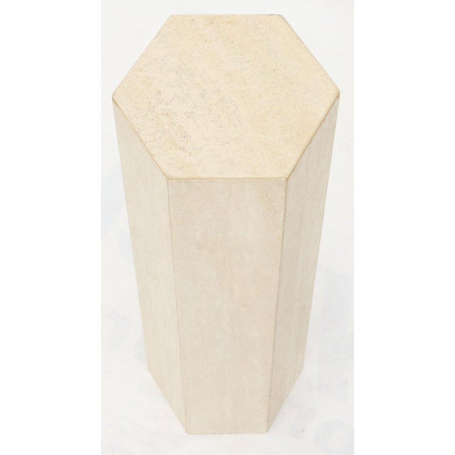 Mid-Century Modern Travertine Marble Tall Tower Shape Table Pedestal For Sale In New York - Image 6 of 13