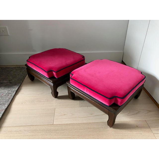 Mid Century Ming Style Stacking Ottoman Stools- a Pair For Sale In New York - Image 6 of 6
