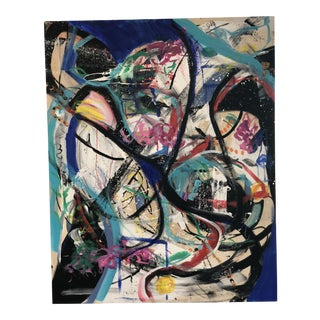 """JJ Justice """"Casa Azul"""" Abstract Painting For Sale"""