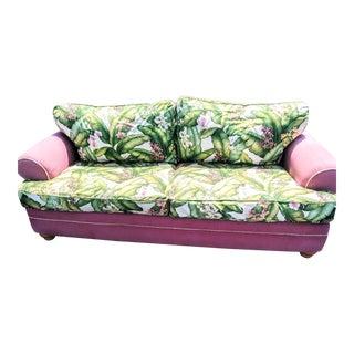 Custom Slip Covered Pink Palm Frond Leaf Print Dorothy Draper Style Regency Down Sofa For Sale
