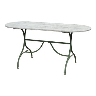 French Oval Bistro Table With Wood Top & Iron Base For Sale