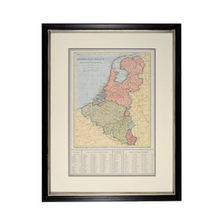 1920s Vintage Framed Netherlands/Belgium Map For Sale