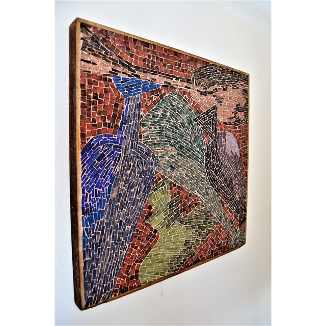 Cubist Glass Mosaic Wall Sculpture -- Mid Century Modern MCM Boho Chic Cottage Abstract Expressionism Folk Art - Image 2 of 11