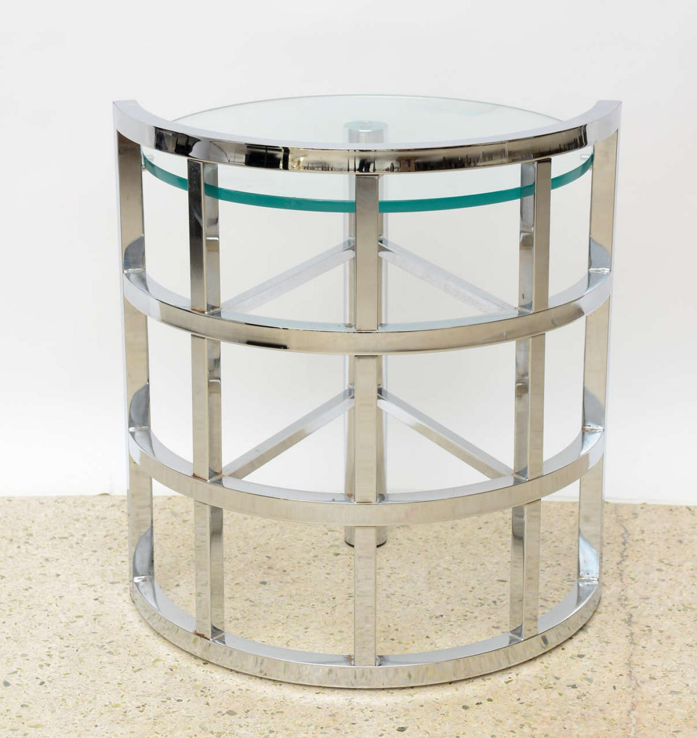 Excellent American Modern Polished Chrome And Glass Occasional Table