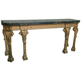 French Black & Tan Marble Top Console For Sale