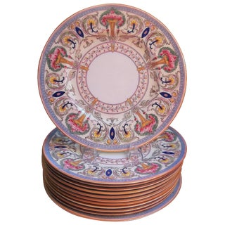 Royal Worcester Hand Enameled Service Dinner Plates - Set of 12 For Sale