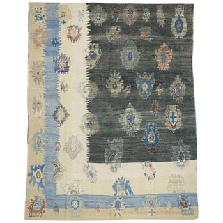Contemporary Turkish Kilim Rug With Tribal Style
