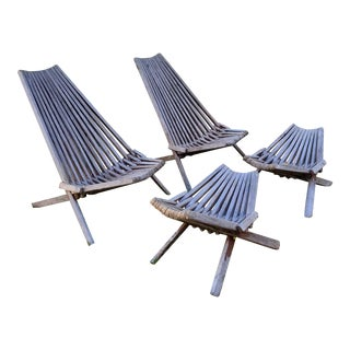 Vintage Hans Wegner Style Danish Modern Teak Folding Side Chairs & Ottomans, 4 Pieces For Sale