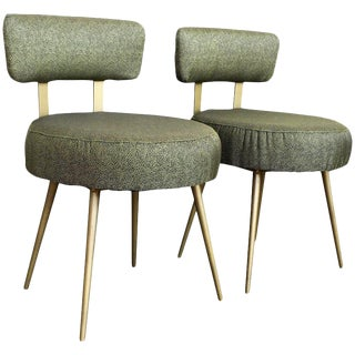 Midcentury Pair of Green and Gilded Round Stools With Back For Sale
