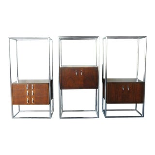 1960's Space Age Mod Lane Chrome Wood & Glass Entertainment Shelving Units - Set of 3 For Sale