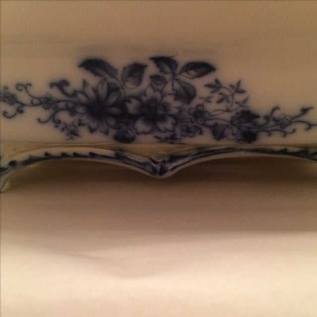 """Flow Blue 12"""" Footed Serving Dish - Image 3 of 10"""